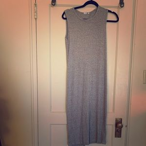 Ribbed Grey Stretch Dress